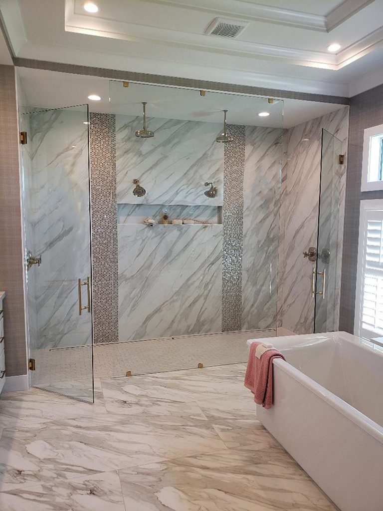 Nustar glass and mirrors frameless shower doors